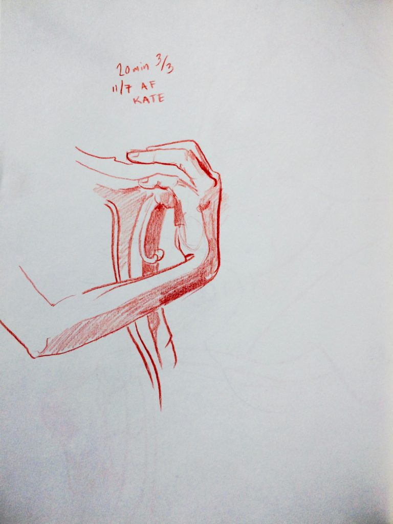 Alex feliciano, Kate's hand it is drawn in red pencil.