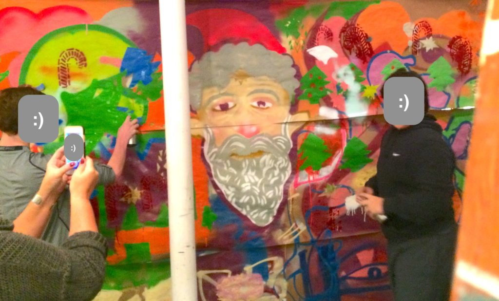 Street art class making wallpaper, spraypaint and stencils with Alex Feliciano