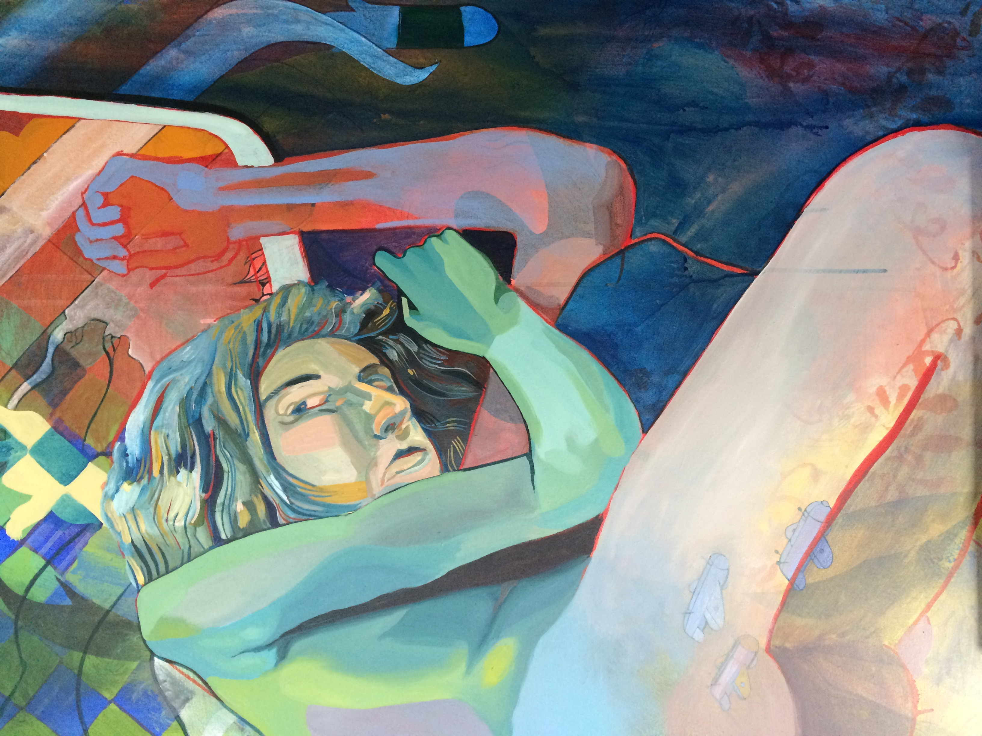 """Woman on couch, napping. 30""""x40"""", acrylic on canvas, by Alex Feliciano"""
