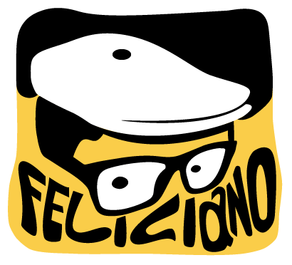 Logo hat and glasses over the word Feliciano