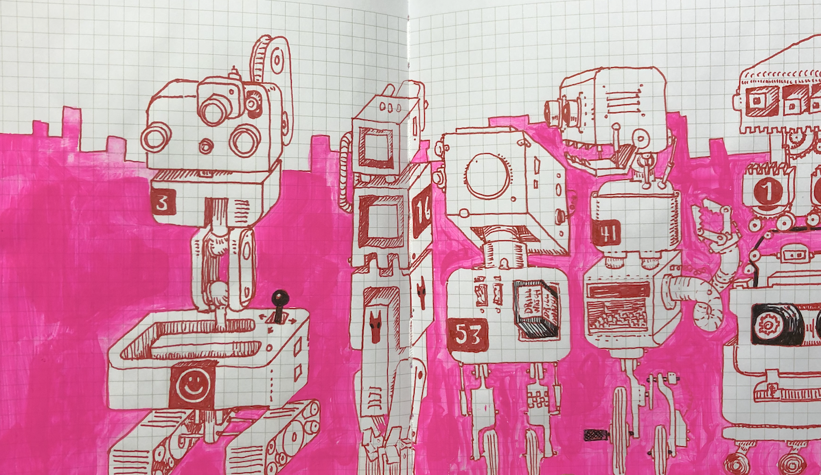 Five isometric robots with pink background