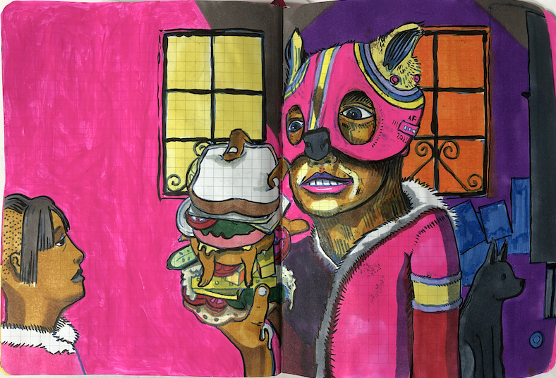 drawing of a girl wearing a mask eating a large sandwich