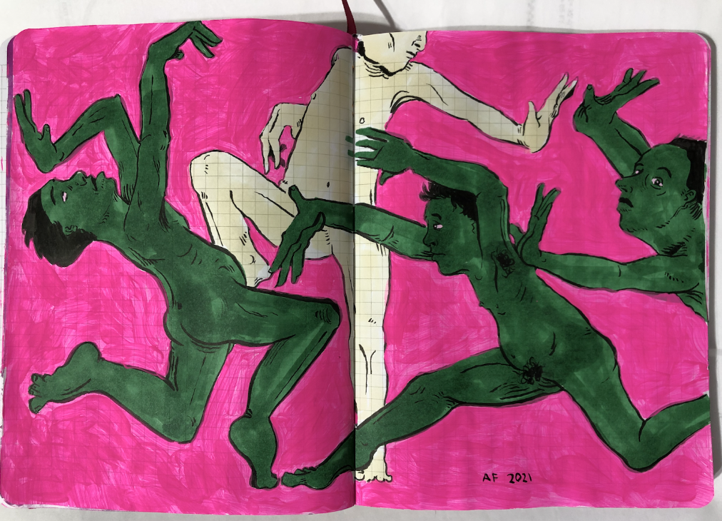 ink drawing of green figures dancing about on a pink background