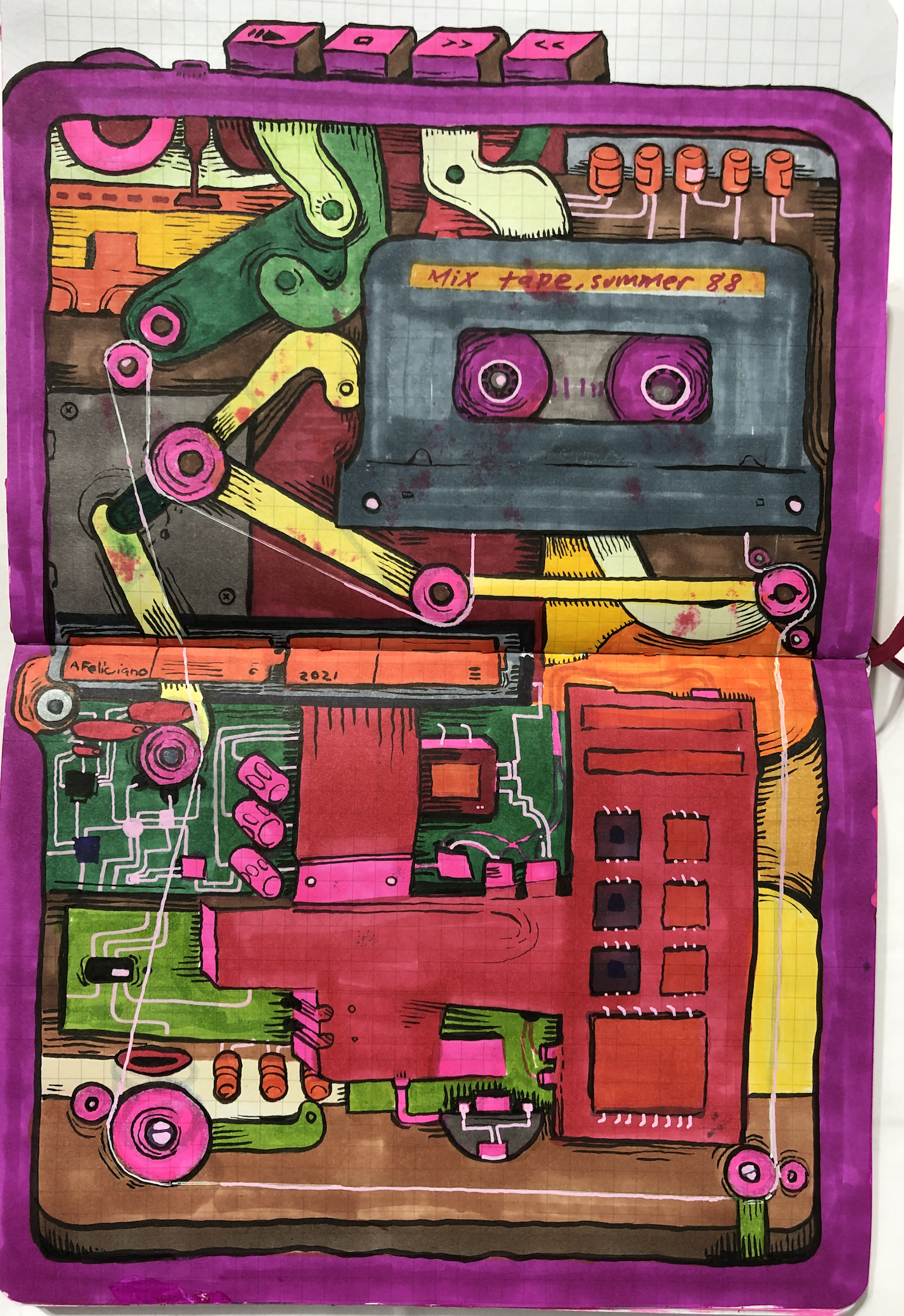 ink and marker illustration of the inside of a walkman.